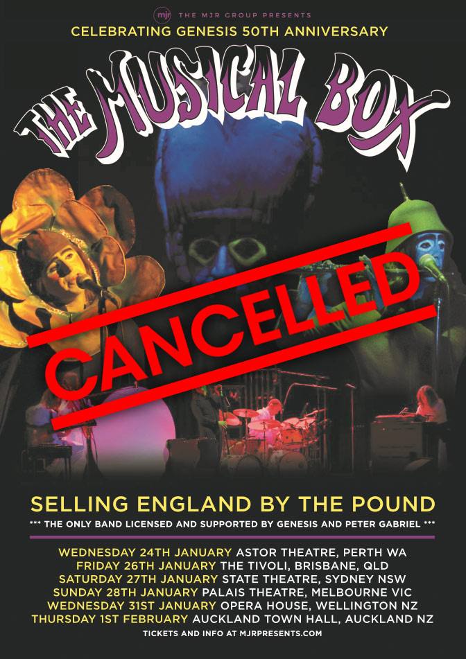 The Musical Box Australian and New Zealand Show cancelled